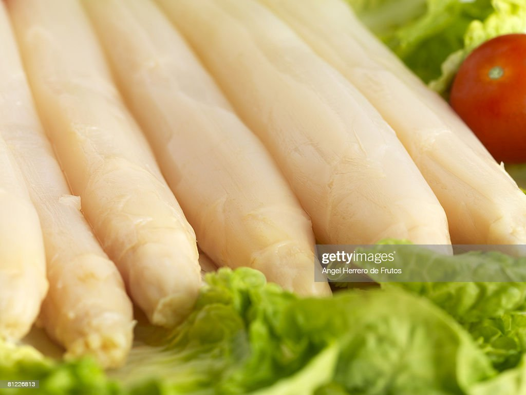 Asparagus with lettuce and tomato. Selective focus on foreground. Shallow deep of field. : Stock Photo