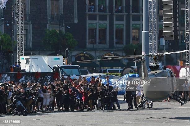 Aspects of helicopter scene during the filming of the latest James Bond movie 'Spectre' at downtown streets of Mexico City on March 30 2015 in Mexico...