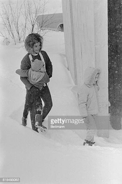 Try as he might 4yearold Kennedy Jr just couldn't make his way through the heavy snow on Buttermilk Mountain and mother had to pick him up again The...