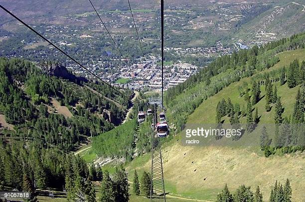 Aspen, Colorado from above in Summer.