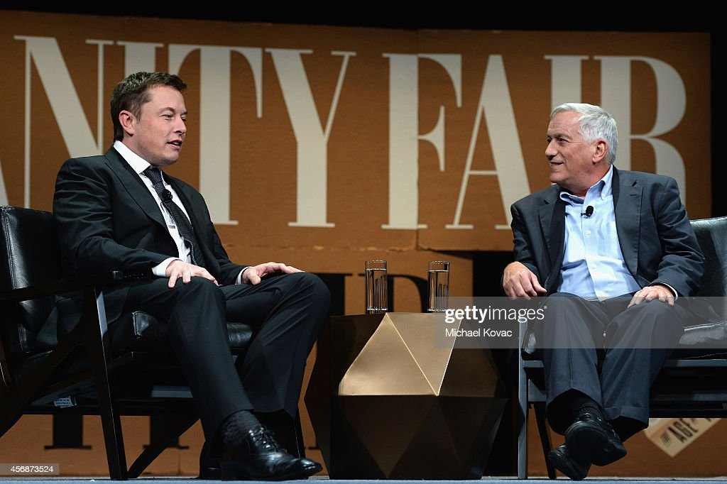 Aspen Institute President and CEO Walter Isaacson and Tesla Motors CEO and SpaceX CEO Elon Musk speak onstage during 'The State of Innovation' at the Vanity Fair New Establishment Summit at Yerba Buena Center for the Arts on October 8, 2014 in San Francisco, California.