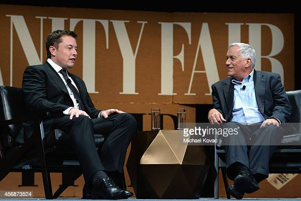 Aspen Institute President and CEO Walter Isaacson and Tesla Motors CEO and SpaceX CEO Elon Musk speak onstage during 'The State of Innovation' at the...