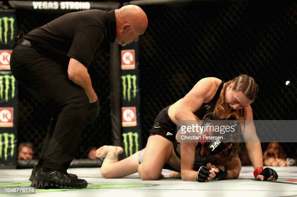 Aspen Ladd beats Tonya Evinger to a TKO in their women's bantamweight bout during the UFC 229 event inside TMobile Arena on October 6 2018 in Las...