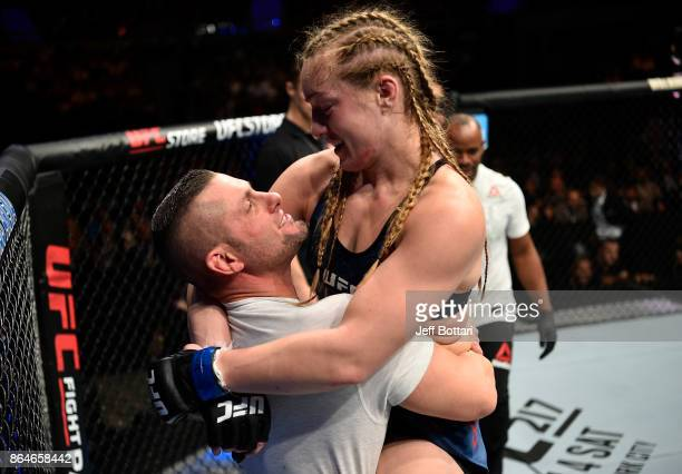 Aspen Ladd celebrates after her TKO victory over Lina Lansberg in their women's bantamweight bout during the UFC Fight Night event inside Ergo Arena...