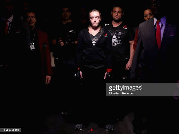Aspen Ladd enters the arena before competing against Tonya Evinger in their women's bantamweight bout during the UFC 229 event inside TMobile Arena...