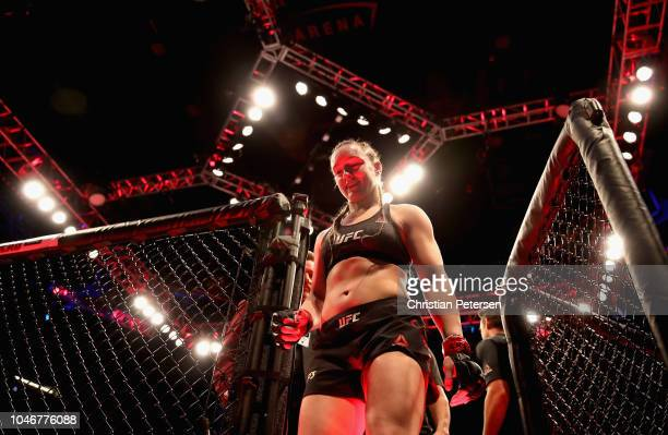 Aspen Ladd leaves the octagon after her victory over Tonya Evinger in their women's bantamweight bout during the UFC 229 event inside TMobile Arena...
