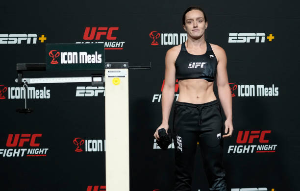 Aspen Ladd poses after failing to make weight during the UFC Fight Night weigh-in at UFC APEX on October 01, 2021 in Las Vegas, Nevada.