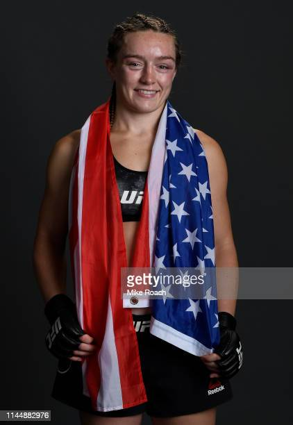 Aspen Ladd poses for a portrait backstage after her victory over Sijara Eubanks during the UFC Fight Night event at Blue Cross Arena on May 18 2019...