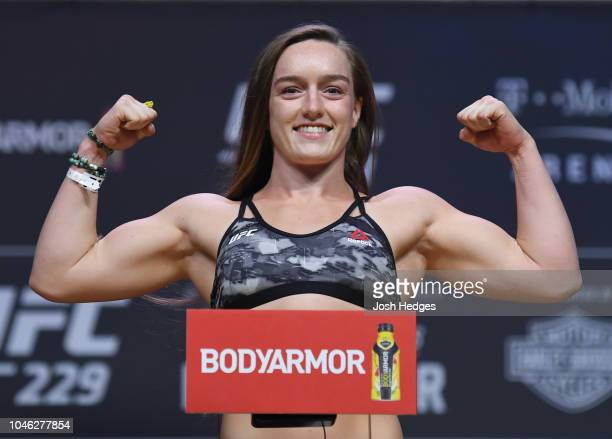 Aspen Ladd poses on the scale during the UFC 229 weighin inside TMobile Arena on October 5 2018 in Las Vegas Nevada