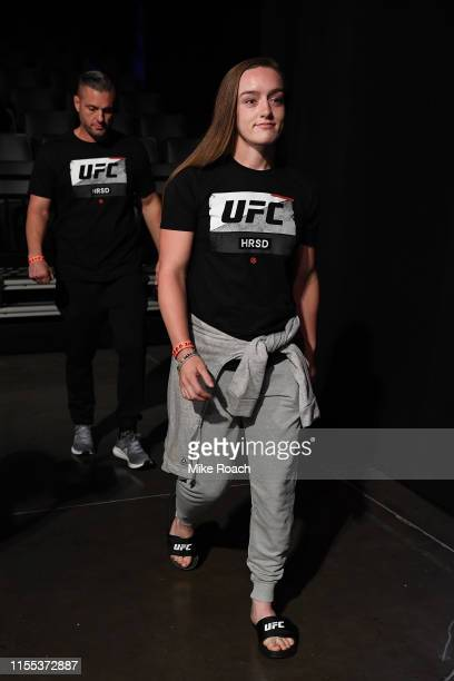 Aspen Ladd poses on the scale during the UFC Fight Night weighins at Golden 1 Center on July 12 2019 in Sacramento California
