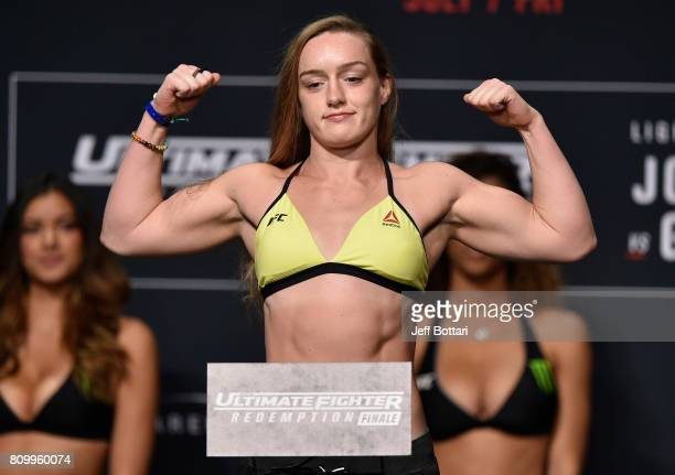 Aspen Ladd poses on the scale during the UFC weighin at the Park Theater on July 6 2017 in Las Vegas Nevada