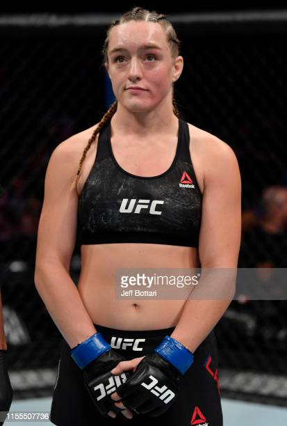 Aspen Ladd reacts after her TKO loss to Germaine de Randamie of the Netherlands in their women's bantamweight bout during the UFC Fight Night event...