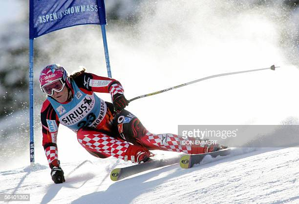 Janica Kostelic of Croatia skis the World Cup Super G course 09 December in Aspen Colorado Kostelic finished in 17th with a time of 11498 AFP...