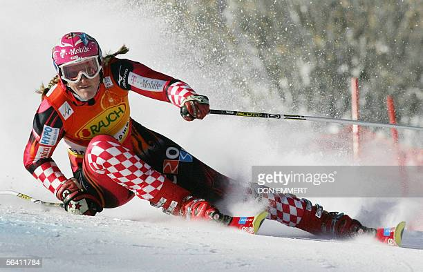 Janica Kostelic of Croatia skis the World Cup Giant Slalom course 10 December, 2005 in Aspen, Colorado. Kostelic had the eighth best time in the...