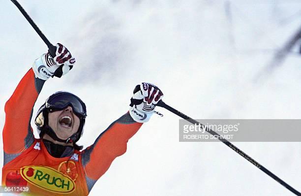 Maria Jose Rienda celebrates as she crosses the finish line of the World Cup women's giant slalom race in Aspen, Colorado, 10 December 2005. Rienda...