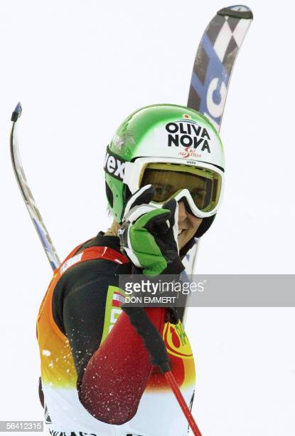 Michaela Dorfmeister of Austria shows how close she was to winning after finishing fifth in the World Cup women's giant slalom 10 December 2005 in...