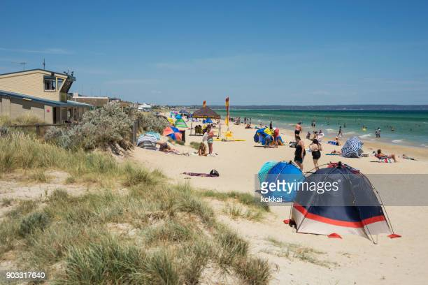 aspendale beach, melbourne - southeast stock pictures, royalty-free photos & images