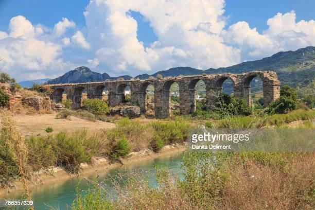 Aspendos Aqueduct over River Eurmedon, Aspendos, Antalya, Anatolia, Turkey