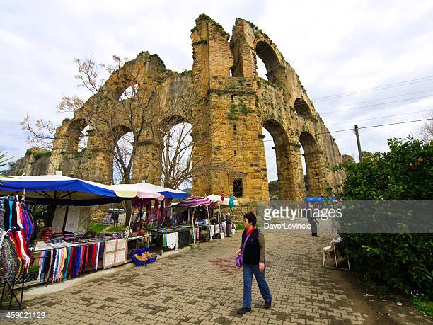 aspendos aqueduct - belek stock pictures, royalty-free photos & images