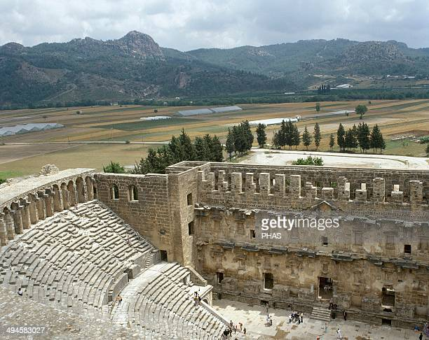 Aspendos Theatre Built by Zenon in the 2nd century AD under the empire of Marcus Aurelius Stands and interior facade of the stage Anatolia