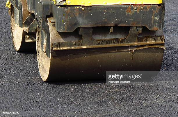 Asphalt paving road roller in action