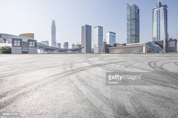 asphalt platform with shenzhen cityscape at back