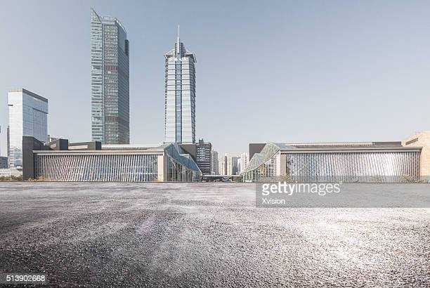 asphalt platform with shenzhen library and Shenzhen Music Hall at background'n