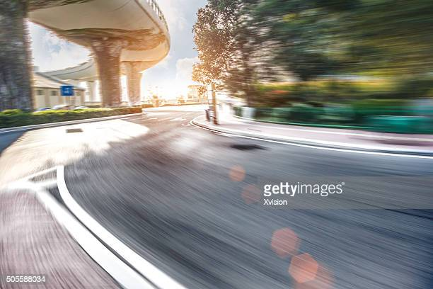Asphalt road in motion blur