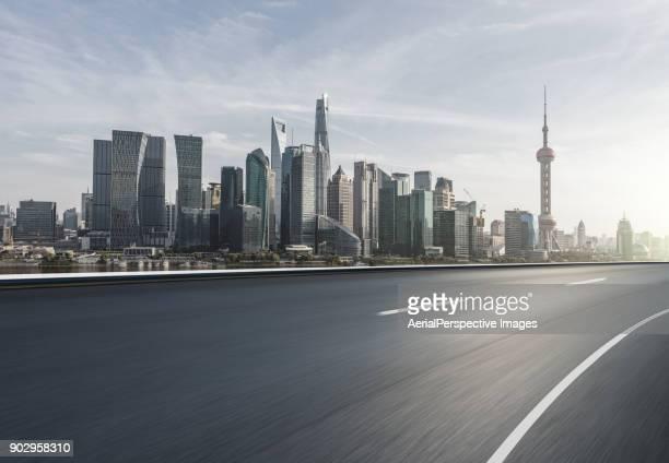 Asphalt Road of Shanghai in Sunlight