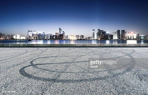 asphalt road  with cityscape and skyline of hangzhou qianjiang new city