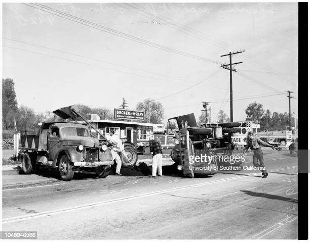 Asphalt truck overturned April 12 1951 7 1/2 tons hot asphalt spilled when driver Ernest Woody swerved to avoid hitting another truck