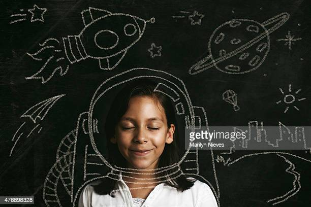 aspirations to be an astronaut - blackboard stock photos and pictures