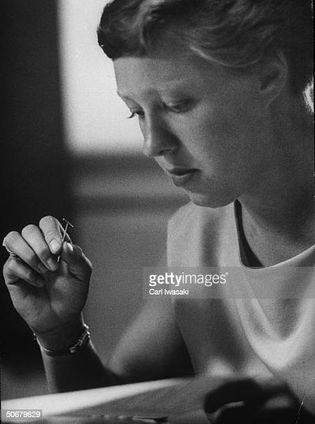 Aspiring astronaut Mary Wallace Funk, taking a personal preference test during Operation Venus.