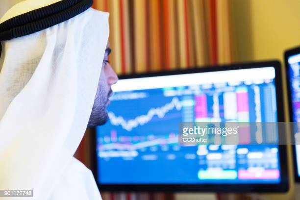 aspiring business working from his home office to understand charts - gulf countries stock pictures, royalty-free photos & images