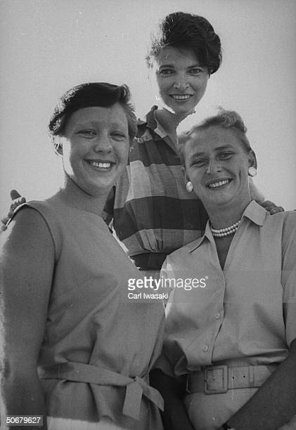 Aspiring female astronauts Jerrie Cobb , Rhea Hurrle and Mary Wallace Funk posing for photo after isolation test in Operation Venus.