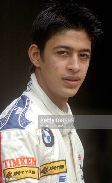 Aspiring Indian motor racing driver Akhil Khushlani poses at his home in Hyderabad on June 11 2007 The seventeen year old has been awarded a coveted...