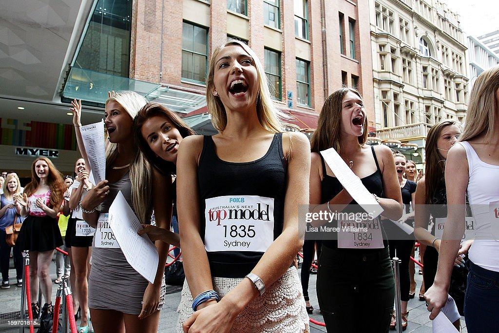 Aspiring models line up during the Sydney audition for Season 8 of Australia's Next Top Model at Pitt Street Mall on January 19, 2013 in Sydney, Australia.