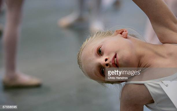 Aspiring toplevel ballet student Lyra Katzman stretches in the warmup room before auditions for the School of American Ballet in Manhattan on May 8...