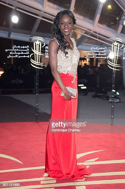 Assa Sylla arrives at the closing ceremony during the 5th Marrakech International Film Festiva on December 12 2015 in Marrakech Morocco