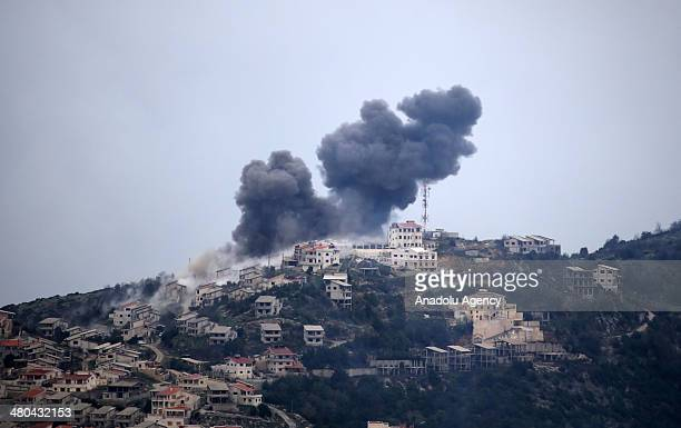 Assad regime's forces air and land attack on the area to regain control over it after Syrian opposition forces seized Latakia's Kasab town, on March...