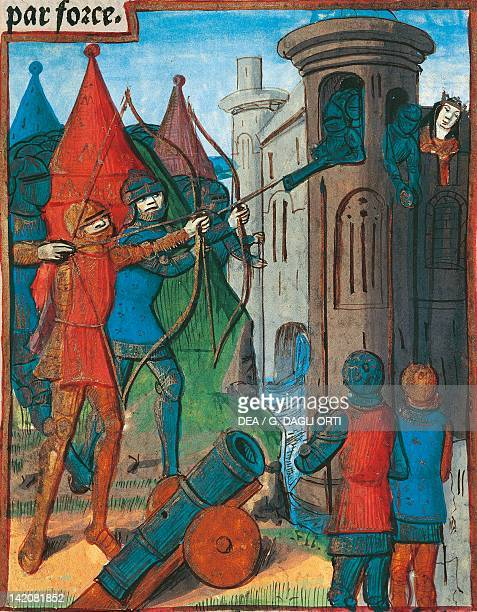 Assalt on a fortress miniature from Lancelot of the Lake manuscript France 15th Century