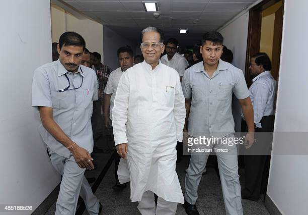 Assam Chief Minister Tarun Gogoi after the meeting of subgroup of CMs on Skill Development at Niti Aayog on August 25 2015 in New Delhi India The...