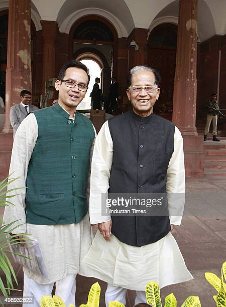 Assam Chief Minister Tarun Gogoi with his son Gourav Gogoi at the Parliament during the winter session on November 27 2015 in New Delhi India...