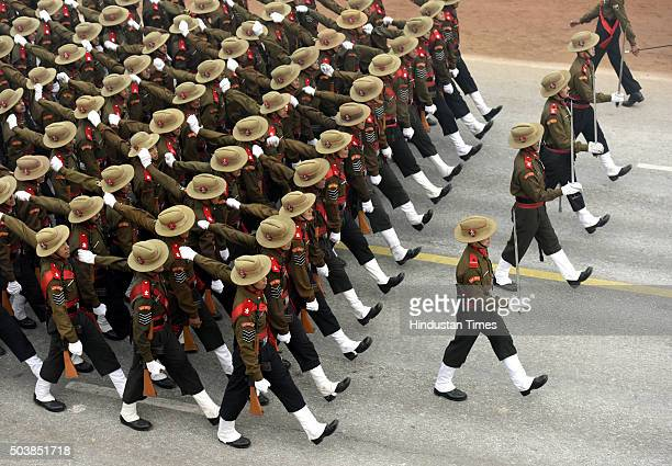 Assam rifles battalion rehearse for the Republic Day Parade on a foggy winter morning at Rajpath on January 7 2016 in New Delhi India