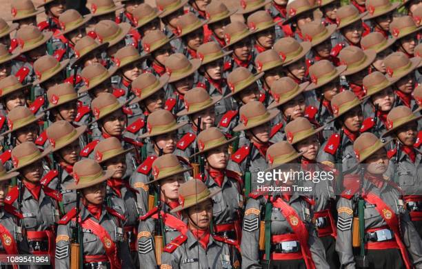 Assam Rifles Marching Contingents pass through the saluting base during the 70th Republic Day Parade at Rajpath on January 26 2019 in New Delhi India...