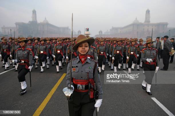 Assam Rifles personnel march during the rehearsals ahead of the Republic Day parade at Vijay chowk on January 16 2019 in New Delhi India