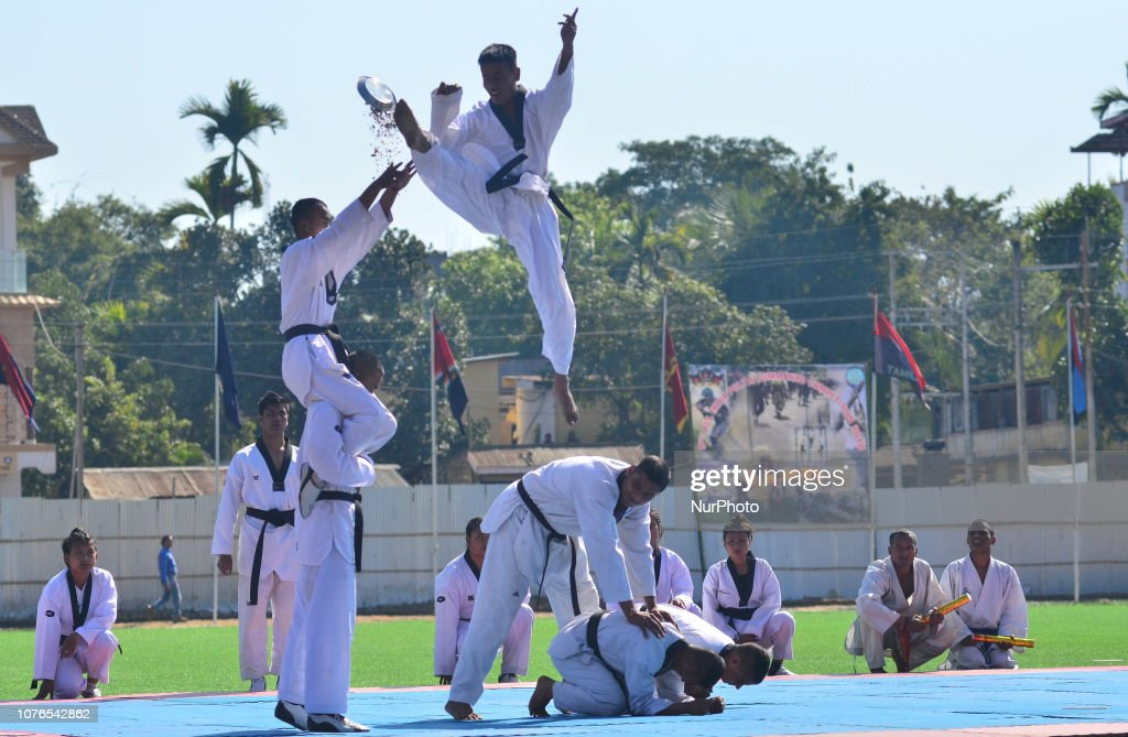 Assam Rifles troopers perform a Taekwondo drill at the