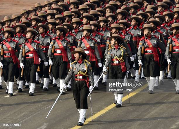 Assam Rifles women contingent marches past the saluting dais at Rajpath during the full dress rehearsal for the Republic Day Parade on January 23...