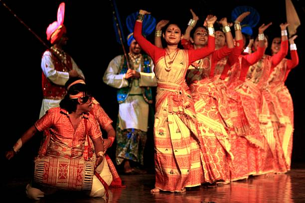 Assamese dancers perform a Bihu jig with bhangra musicians at the Year of India in Russia sneak peek on August 27 2009 in New Delhi India Around 185..