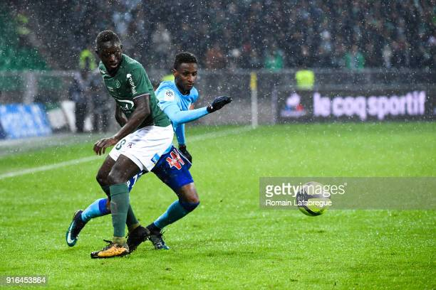 Assane Diouf of Saint Etienne and Bouna Sarr of Marseille during the Ligue 1 match between AS SaintEtienne and Olympique Marseille at Stade...